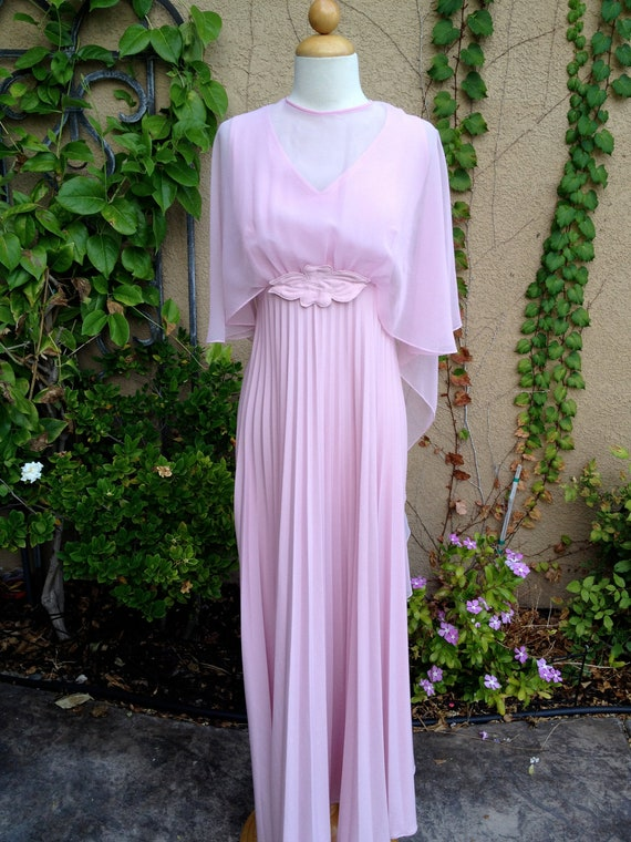 A vintage 1960s 1970s rose pink sheer batwing butterfly sleeves pleated skirt maxi cocktail party formal dress size S M