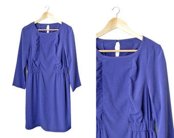 SALE - Purple Silky Dress with elastic waistband - long sleeved