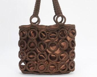 Crochet Shoulder Bag Tote Chocolate Brown