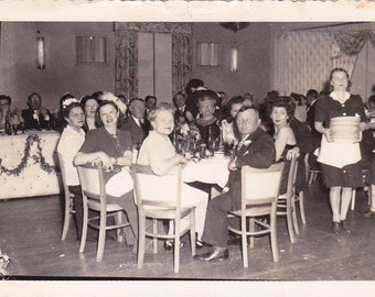 Vintage Photo - Group at the Table - Vintage Photograph, Vernacular, Found Photo  (WW)