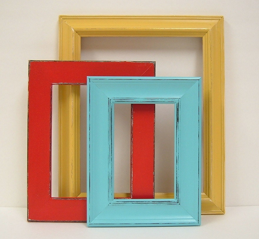 Shabby Chic Frames Picture Frame Set Red Yellow Turquoise Home
