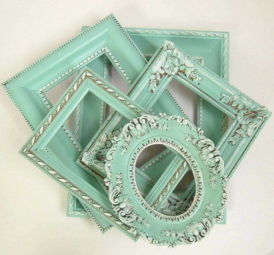 Shabby Chic Frames Pastel Mint Green Picture Frame Set Ornate