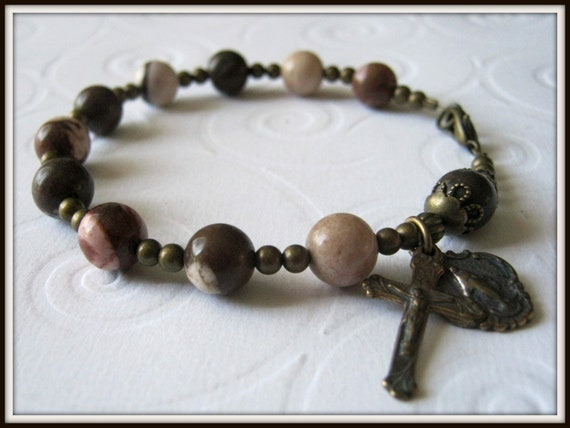 Catholic Rosary Bracelet in Cappuccino Jasper Gemstone w/ Bronze Miraculous Medal