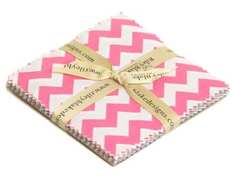 """Chevron Small Chevron 5"""" squares Charm Pack by My Mind's Eye for Riley Blake, 24 pieces"""