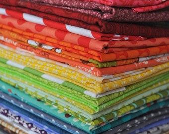Rainbow Fabric Scrap Bag, designer cottons, over 2 yards total