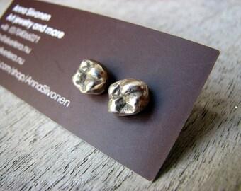 Teeth earrings white bronze surgical steel posts