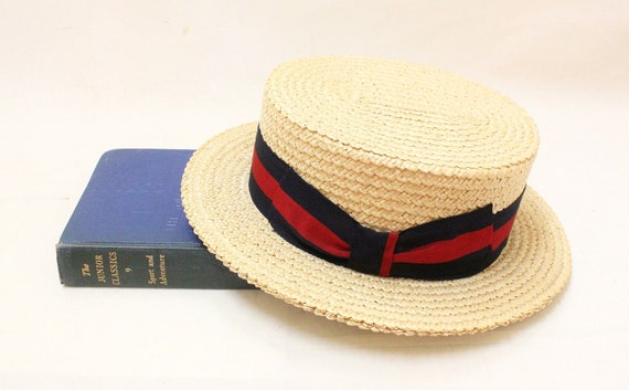 Ponte Rialto Boater Straw Hat , Size 7/56 , Made ibn Italy Venice // Excellent Condition