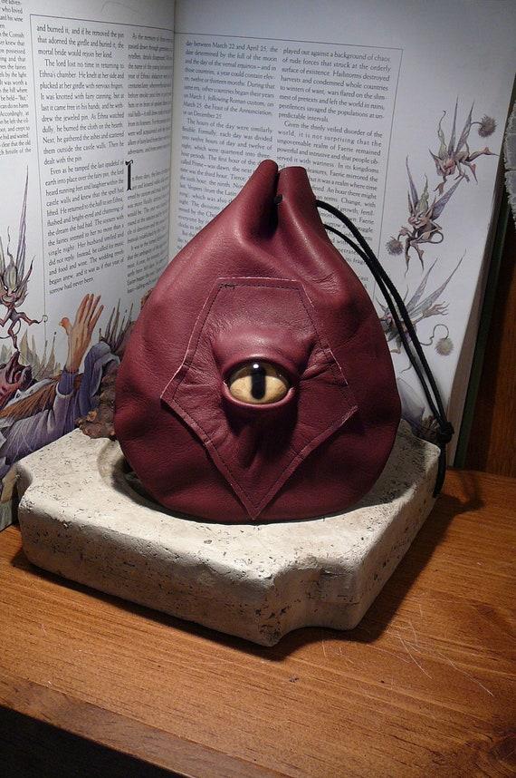 Medium Rust Brown Leather Bag with Tan Beast Eye