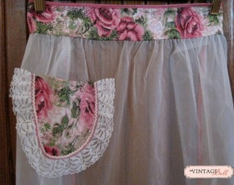 White Sheer Apron with Pink Flowers