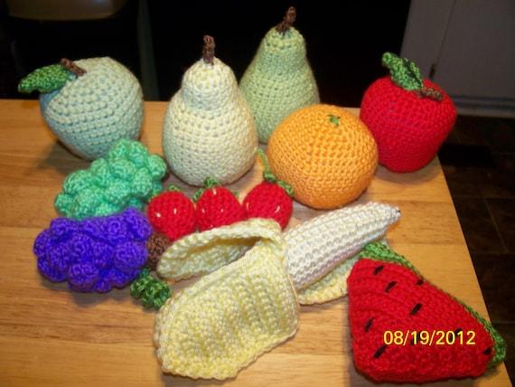 Crochet fruit playfood watermelon banana apples pears grapes strawberries orange
