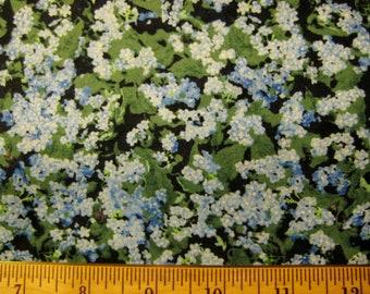 MBT Blue Floral and Green Leaves Allover on Black - half yard