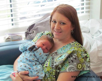 Grant Maternity Hospital Gown in Mint, Grey, Citron and Brown - Lined or Unlined - Deliver in Style by Mommy Moxie on Etsy