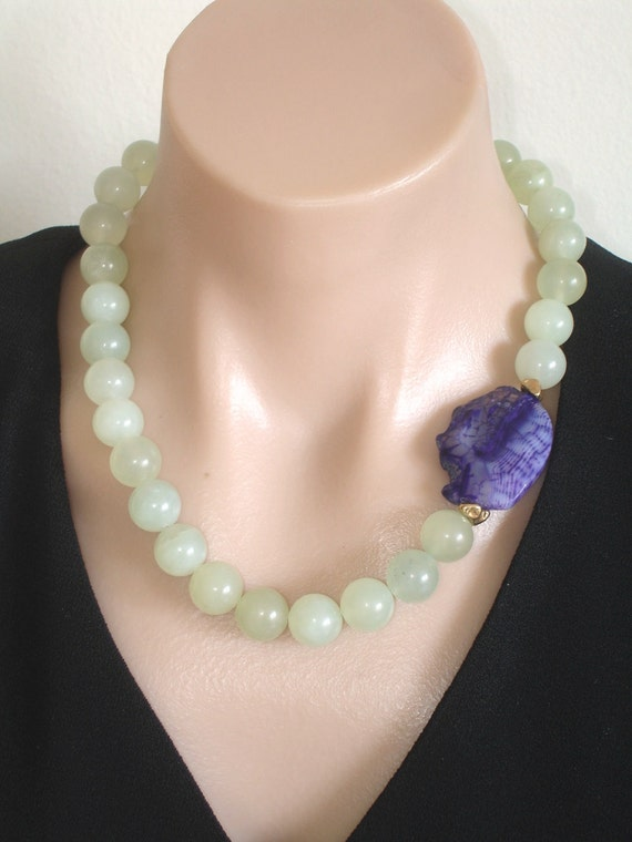 ASHIRA New Jade and Purple Druzy Agate Focal Stone with 24K Gold Nuggets