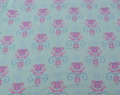 Cotton Fabric, 1 Yard, Folk Heart Tulip, Green, Pink, Blue, Quilting, Quilt, Sewing, Decor, Pillow, Wall Hanging, Crafts