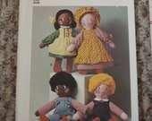 Cloth Doll Pattern, Vintage 1975, Uncut, Simplicity 7247, Clothes, Soft Rag Doll, Pioneer, Country Girl, Boy, Collectible, Christmas Gift