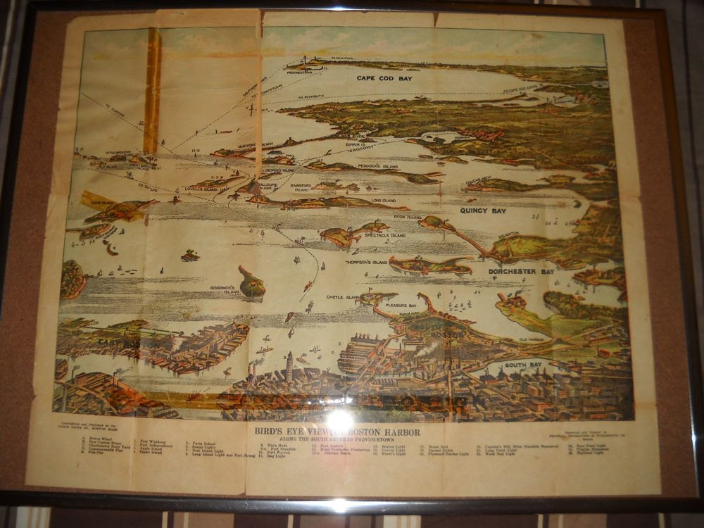 Antique Map Bird S Eye View Of Boston Harbor Color Map