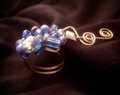 Blue Beaded Wire Wrap Ring