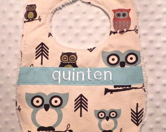Personalized Bib - Baby Boy Light Blue and Brown Owls