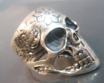Sterling Silver Ring 925 Sugar Skull Flowers Tattoo Ring Unique