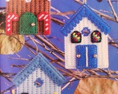 YULETIDE BIRDHOUSES Ornaments - Twilight Pals Santa Moon & Star - Plastic Canvas CHRISTMAS Patterns