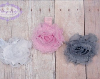 Hair clip, hair bow, baby hair clip, snap clip, flower hair clip, small flower hair clip, set of 3 small shabby chic flower hair clips