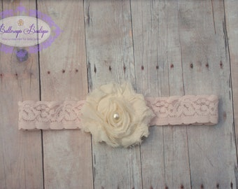 Baby headband, infant headband, soft pink lace elastic headband with ivory shabby flower accented with pearl