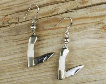 Knife Earrings, Rough Rider Knife Earrings, Unique Earrings, Sterling Silver Earwires, Stainless Steel Blade, Tiny Knife Earrings, unusual