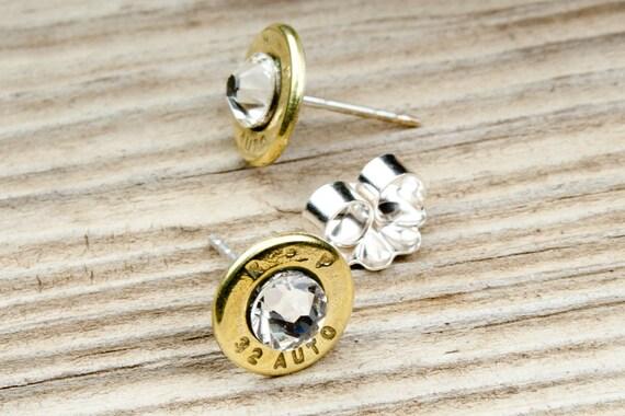 Bullet Stud Earrings / 32 Auto Bullet Stud Earrings RP-32-B-SEAR / Bullet Earrings / Stud Earrings / Sterling Earrings / Brass Earrings