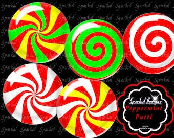 Digital Collage Sheet Peppermint Christmas Circle Images Instant Download Bottle Cap Images,  Christmas clipart images