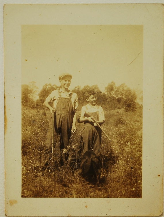 Young Hunters, 1930's Vintage Photo, Paper Ephemera, Art Images, Collectibles, Paper, Photography, Photo