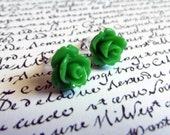Rose Earring Posts - Grass Green Flowers Earring Studs