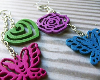 Painted Wood Earrings - Bold Butterlfies, Hearts and Flowers Chain Dangle Earrings