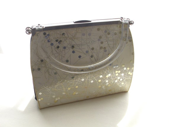 Reserved fpr Carolyn               atomic mid-century 3-way convertible handbag patent white, black, fabric navy purse Lucite handle