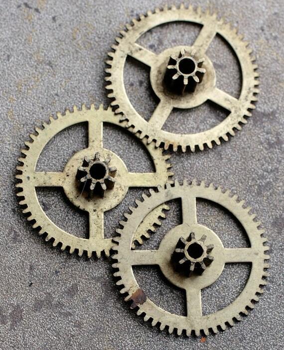 Old Clock Gears : Vintage clock brass gears set of d from timemill