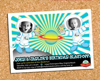 Outer Space Birthday Invitation, Astronaut Outer Space Party Invite, Combined Joint Dual Birthday - DiY Printable || Blast Off TWOgether