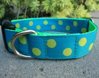 "Sale Dog Collar Polka Dots Lime 1"" wide Side Release buckle adjustable - martingale style is cost upgrade"