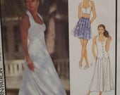 Fitted Halter Top, Pleated Skirt Pattern, Midriff Length, Shaped Hem, Style No. 1743 UNCUT Size 6 8 10 12 14 16