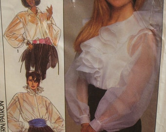 """Ruffled Evening Blouse Pattern, Full Sleeves, High Neck, Vintage 1980s Christie Brinkley Simplicity No. 8903 UNCUT Size 18 (Bust 40""""102cm)"""
