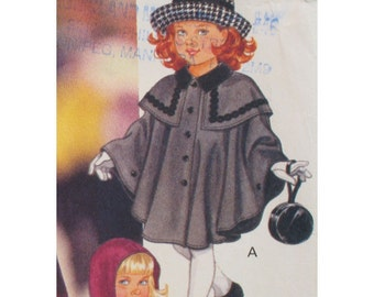 "Girls Cape Pattern, Coat, Hood, Capelet, Collar, Little Vogue No. 8521 UNCUT Size 2 3  (Chest 21, 22"" 53 56cm)"