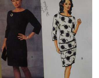 Tiered Sheath Dress Pattern, Lined, Cut On Sleeves, Fitted, Scoop Neck, Maggie Boutique Butterick No. B4654 UNCUT Size 8 10 12 14