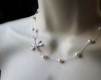 Silver Dragonfly Pearl Sterling Silver Cable Chain Necklace Womens Jewelry Gift Wedding Bridesmaid