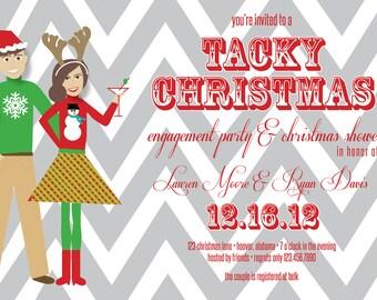 Tacky Christmas Shower Invitation; Ugly Sweater Christmas Party Invitation; Custom Digital File