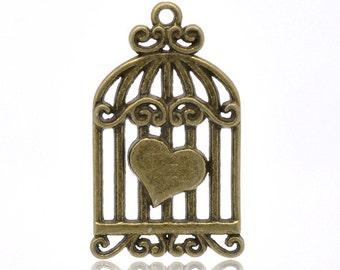 1 Antique Bronze Vintage Birdcage Pendant 34mm Long
