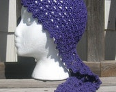 Gypsy Head Scarf, Gypsy Scarf, Purple Hat, Crochet Hat, Cancer Hat, Cancer Cap
