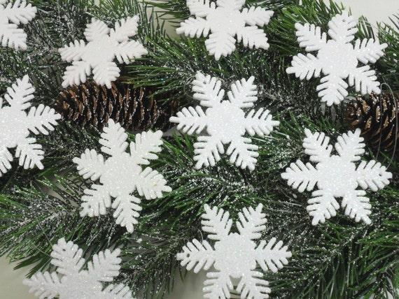 "10 White Snowflake Glitter Ornaments Acrylic 2"""