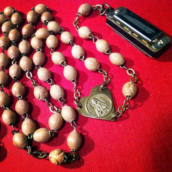 Mini Functional Harmonica Necklace on Wood Beaded Vintage Rosary With Unusual Brass Heart Centerpiece