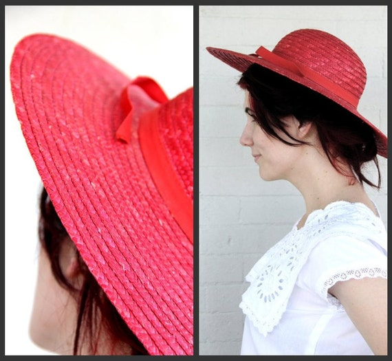 SALE. 1970's. wide brim. red. straw. hat. vintage.