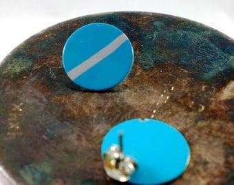 Bright blue circle earrings