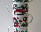 Vintage Porcelain Christmas Coffe Cups, Set of 4, Made in Japan