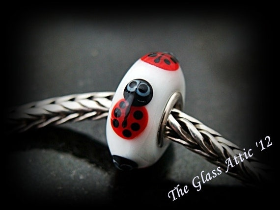 4 Lady Bug Friends fits Trollbeads ONLY European Charm Bead SRA Big Hole Bead